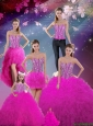 2016 Summer Detachable Sweetheart Fuchsia Beautiful Quinceanera Dresses with Beading and Ruffles