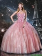 2016 Winter Perfect Ball Gown Sweetheart Beaded Quinceanera Dresses in Pink
