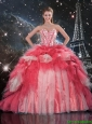 2016 Winter Perfect Beaded Ball Gown Quinceanera Dresses with Brush Train