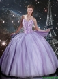 Fashionable 2016 Fall Sweetheart Lavender Tulle Quinceanera Dresses with Beading