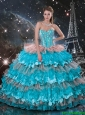 Luxurious 2016 Fall Sweetheart Quinceanera Dresses with Beading and Ruffled Layers