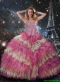 Perfect 2016 Fall Beaded Multi Color Quinceanera Dresses with Ruffled Layers