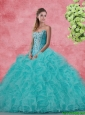 Beautiful Strapless Beaded and Ruffles Quinceanera Dresses in Aqua Blue
