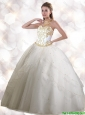 Feminine Halter Top White Quinceanera Gowns with Appliques
