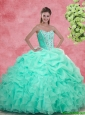 Luxurious Apple Green Quinceanera Gowns with Beading and Ruffles