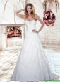 2016 Luxurious A Line Sweetheart White Elegant Wedding Dresses with Brush Train