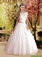 2016 Elegant A Line Bateau Elegant Wedding Dresses with Court Train