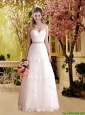 Romantic Column Sweetheart Elegant Wedding Dresses with Beading in Tulle