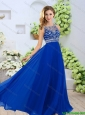 2016 Spring Luxurious Bateau Brush Train and Beaded Prom Dresses in Blue