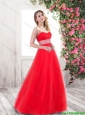 2016 Spring New Style A Line Sweetheart Prom Gowns in Red
