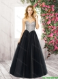 Latest 2016 Sweetheart Floor Length Prom Gowns in Black