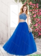 2015 Winter Elegant A Line Bateau Blue Prom Gowns with Beading