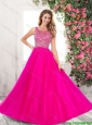 2015 Winter Elegant A Line Scoop Tulle Prom Dresses in Hot Pink