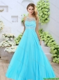 2015 Winter Elegant Bateau Aqua Blue Prom Dresses with Brush Train