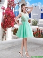2016 Affordable Apple Green Short Prom Dresses with Lace