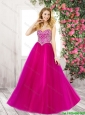 2016 Spring Elegant Sweetheart Fuchsia Prom Dresses with Beading