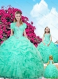 2015 Fall Sweetheart Apple Green Macthing Sister Dresses with Beading and Ruffles