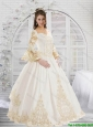 New Style Champagne Sweetheart 2015 Quinceanera Gowns with Lace