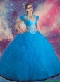 2015 Brand New Beaded and Ruffles Quinceanera Gowns in Blue