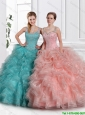 2016 Classical Ball Gown Straps Sweet 15 Dresses with Beading and Ruffles