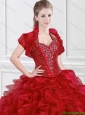 2016 Hot Sale Halter Top Wine Red Sweet 16 Gowns with Ruffles