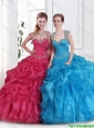 2016 New Style Straps Beaded Quinceanera Dresses with Zipper Up