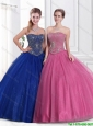 2016 Perfect Strapless Ball Gown and Beaded Sweet 16 Dresses in Blue