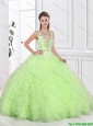 2016 Popular Ruffles Yellow Green Sweet 16 Dresses with Beading