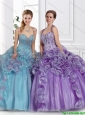 2016 Pretty Straps Beaded Quinceanera Gowns with Beading in Summer