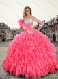 2016 Romantic Strapless Beaded and Ruffles Quinceanera Gowns in Coral Red