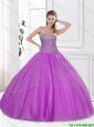 Best Selling Beaded Sweetheart Quinceanera Dresses with Lace Up for 2016 in Lilac