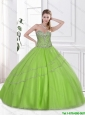 Fashionable Spring Green Sweet 16 Dresses with Beading for 2016