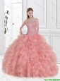Luxurious Ruffles and Beaded Quinceanera Gowns in Watermelon