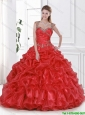 Exquisite Beading and Ruffles Quinceanera Dresses in Red for 2016