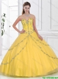 Latest 2016 Yellow Sweetheart Quinceanera Gowns with Beading