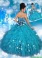 2016 Pretty Strapless Quinceanera Dresses with Appliques and Ruffles