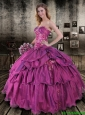 2016 Romantic Sweetheart Quinceanera Dresses with Appliques and Ruffled Layers