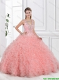 Elegant V Neck Beaded Quinceanera Dresses with Open Back