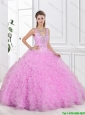 Fashionable V Neck Sweet 16 Dresses with Beading and Ruffles