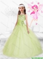 Beautiful 2016 Straps Beaded Mini Quinceanera Dresses in Yellow Green