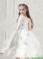Perfect Spaghetti Straps White Flower Girl Dresses with Appliques