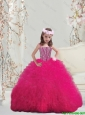 Lovely Spaghetti Hot Pink Mini Quinceanera Dresses with Beading and Ruffles