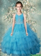 Pretty Halter Top Mini Quinceanera Dresses with Beading and Ruffled Layers