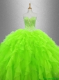 2016 New arrival Cheap Beaded and Ruffles Quinceanera Gowns in Organza