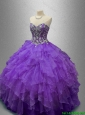2016 Elegant New Style Purple Sweet 16 Gowns with Beading and Ruffles