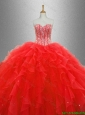 2016 Gorgeous Popular Red Sweet 16 Dresses with Beading and Ruffles