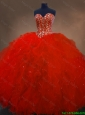 2016 Luxurious Pretty Red Sweetheart Quinceanera Gowns with Ruffles and Beading
