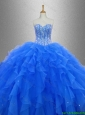 2016 New arrival Discount Beaded and Ruffles 2016 Sweet 16 Gowns in Blue