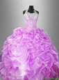 2106 New arrival Latest Hand Made Flowers Quinceanera Dresses with Halter Top