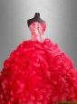 2016  New arrival  Fashionable Red Quinceanera Dresses with Beading and Ruffles